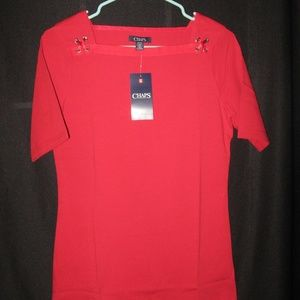 CHAPS BRIGHT RED SZ. SM SQUARE NECK TOP NWT